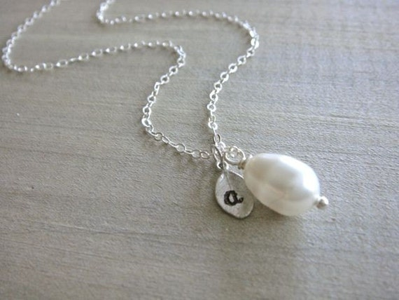 Personalized Simple White Teardrop Pearl Necklace in Silver - Wedding, Bride, Bridal, Bridesmaid, Mother's Day