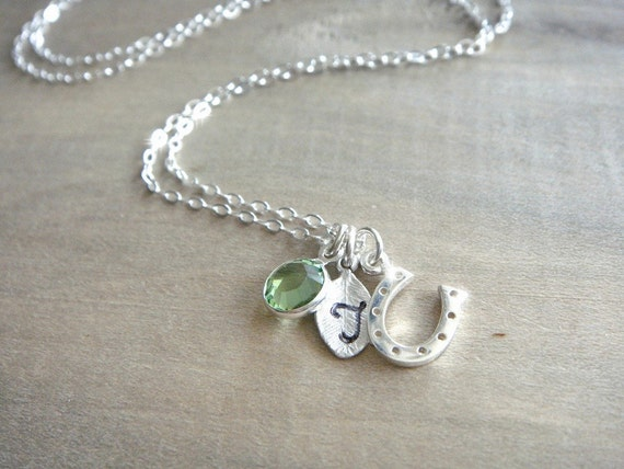 Personalized Sterling Silver Lucky Horseshoe Necklace - Hand Stamped Letter and Birthstone
