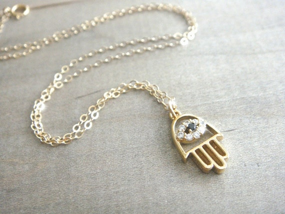 Gold Hamsa Necklace with Cubic Zirconia on 14K Gold Filled Chain