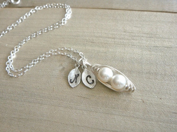Mini / Tiny Personalized 2 Peas in a Pod wrapped in Sterling Silver - Choose your INITIAL and PEARL COLOR - Mother's Day