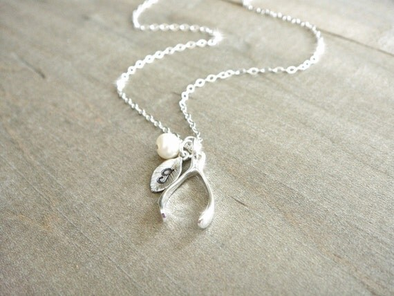 Personalized Sterling Silver Wishbone Necklace