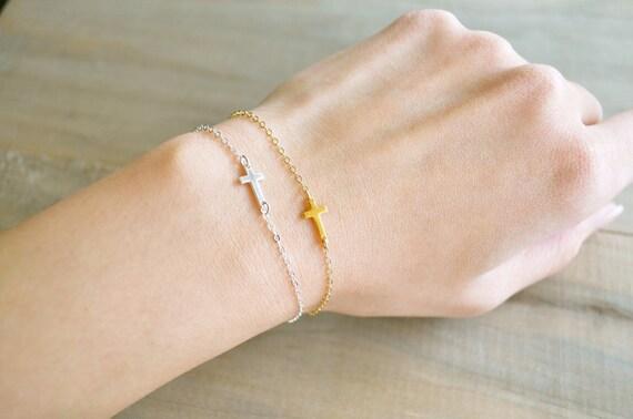 Sideways Cross Bracelet Mini / Tiny - 24K Gold Vermeil - Celebrity bracelet, Kelly Ripa, Taylor Jacobson, Jennifer Lopez, Easter, Religious