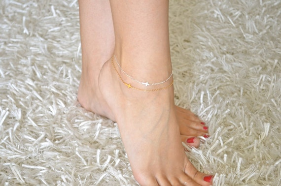 Sideways Cross Anklet Mini / Tiny - 24K GOLD VERMEIL - Ankle Bracelet, Celebrity bracelet, Kelly Ripa, Taylor Jacobson, Religious