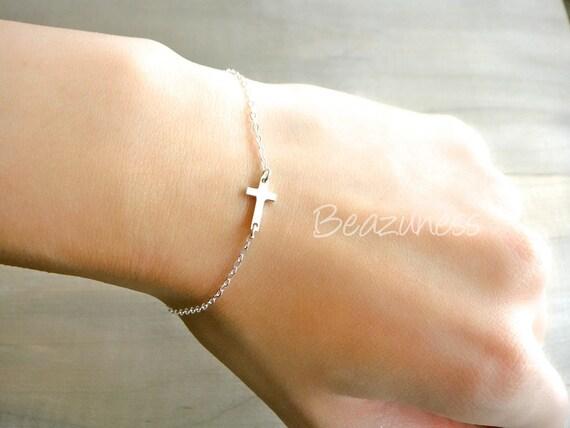 Sideways Cross Bracelet Mini Tiny - Sterling Silver - Celebrity bracelet, Kelly Ripa, Taylor Jacobson, Jennifer Lopez, Easter, Religious