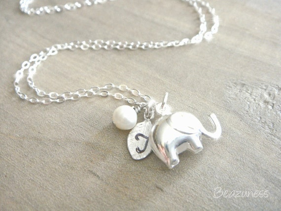 Elephant Necklace in Sterling Silver - Personalized Hand stamped leaf with freshwater pearl - Lucky Elephant