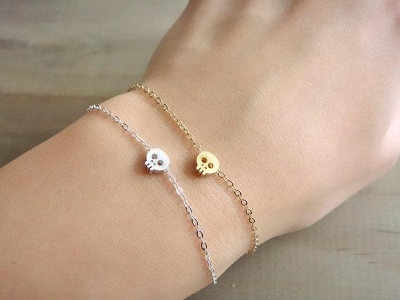 Tiny Skull Bracelet in Silver