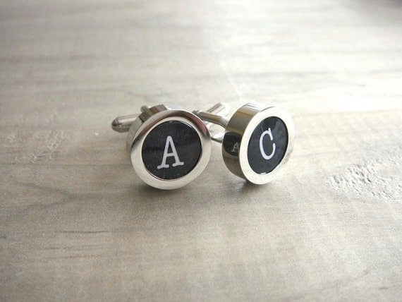 Mens Personalized Typewriter Key Cuff Links - Weddings, Groom, Groomsmen, Father of the Bride, Father's Day