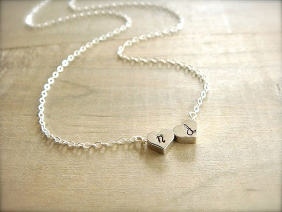 Two Heart Initial Necklace in Silver - Reversible - Bride, Bridal, Bridesmaid gift, Wedding, Mother's Day