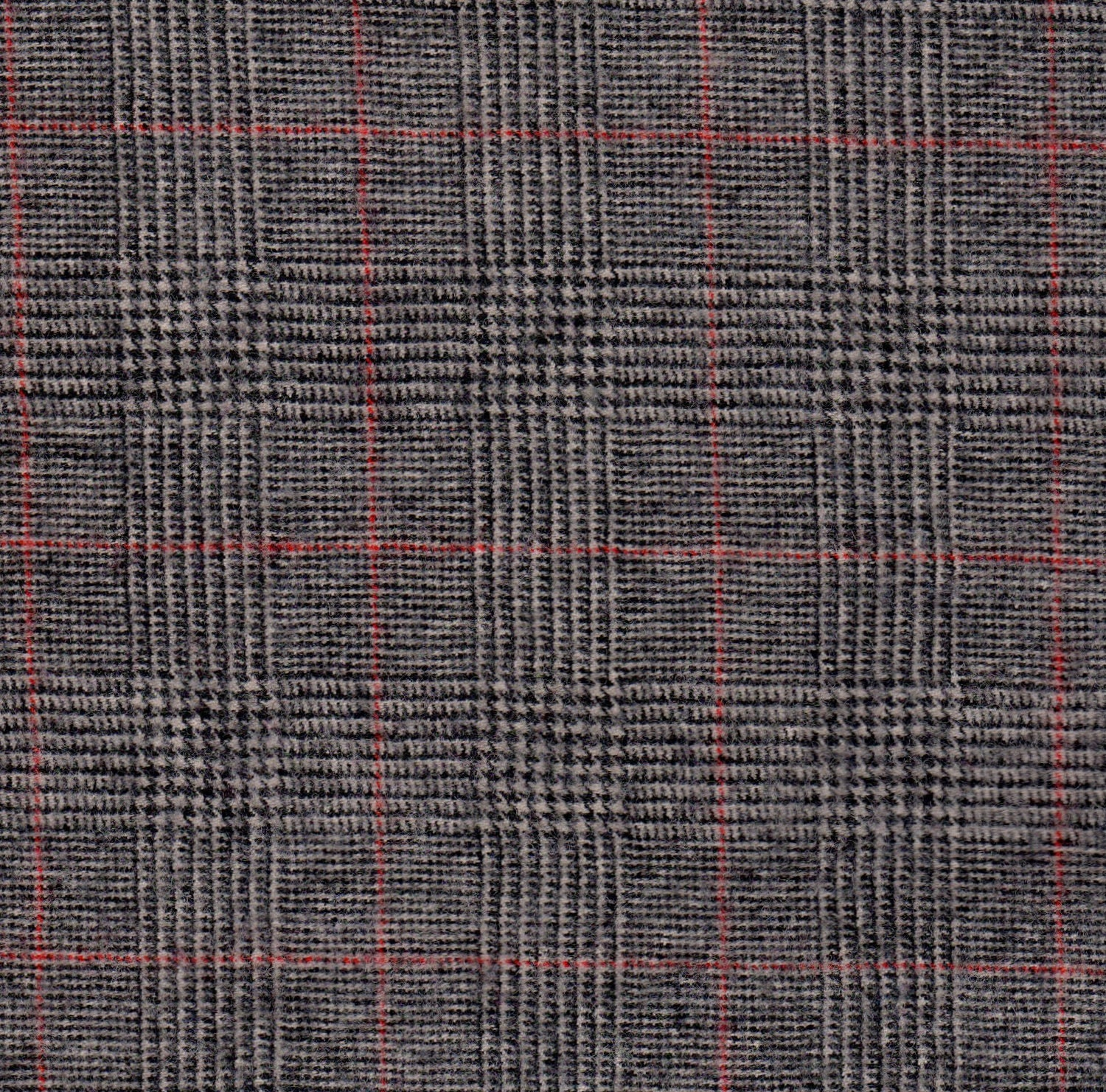3350 Felted 100 Percent Woven Wool Glen Plaid Greys