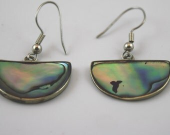 Vintage Abalone and Silver Dangle Earrings