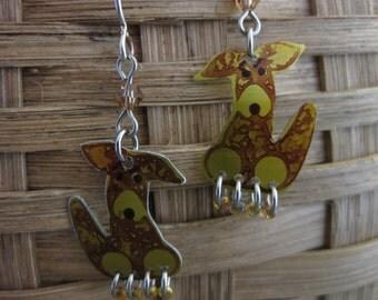 Teeny Puppy Earrings in Amber