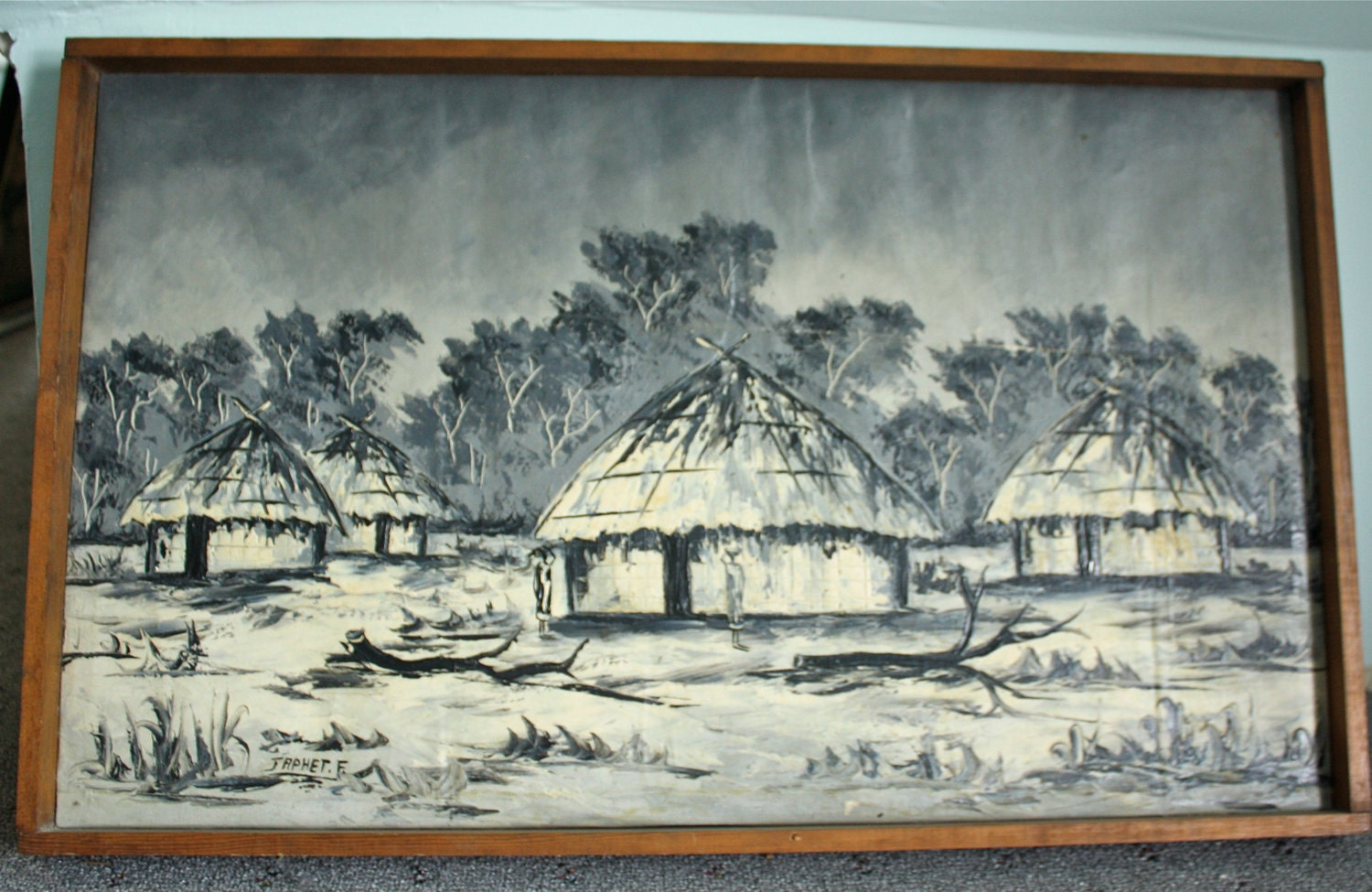 African Village Drawing on Canvas African Village