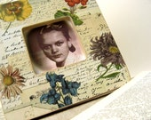 Nostalgic photo frame Love Letters and Dried Flowers OOAK