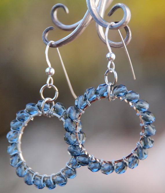 Navy Wire Wrapped Earrings on Sterling Silver French Earwires