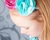Teal with pink rosette crystal hairpiece