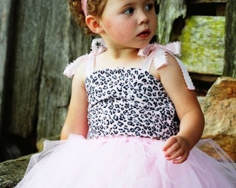Pink so Pretty tutu skirt with leopard tube top - 4pc set