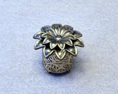 Tiny Hand Etched Brass Flower Box 1