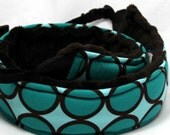 Camera Strap Quick Release Long Crossbody Teal Dots with Espresso Brown Minky Back