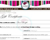 Quick Gift - Rush - Gift Certificate for SewTamz Designs on Etsy - Great Last Minute Gift