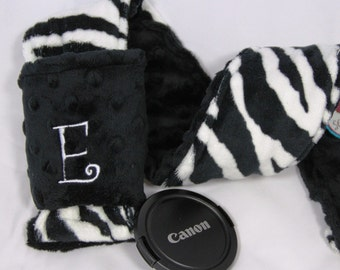 Personalized Camera Strap Cover Set in ALL MINKY - Zebra and Black Minky with Dual Lens Cap Holder