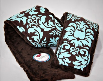 Camera Strap Cover- Michael Miller Dandy Damask Turquoise and Brown Minky