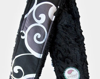 Camera Strap Cover in Whimsy Surf or Tattoo with Black Minky