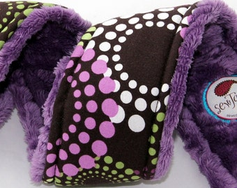 Camera Strap Cover Purple Green Rounds with Purple Cotton Dots