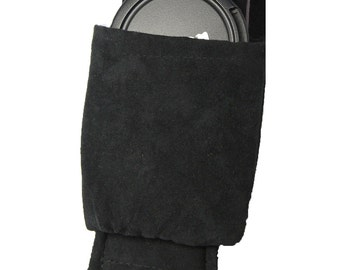 Dual Camera Lens Cap Sleeve -Add- use on multiple straps- holds iphone -memory cards