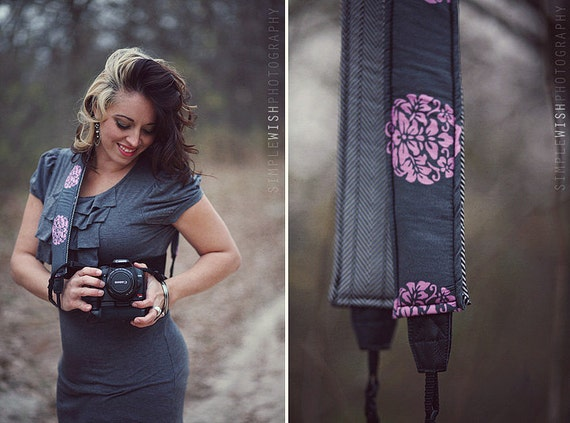 Neoprene Camera Strap Quick Release Hipster  - Botanical Reversible to Classic Chevron