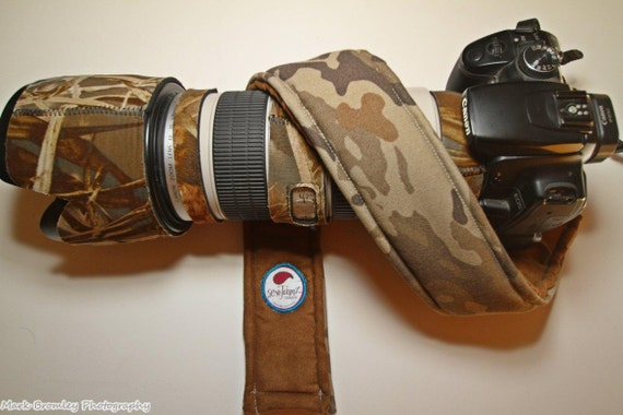Men's Camera Strap Cover Brown Camo - Camouflage REVERSIBLE to Brown Suede