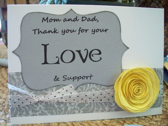 3 Thank You Parent Cards.  For Family, Friends or Wedding Party Cards.  Paper Flower