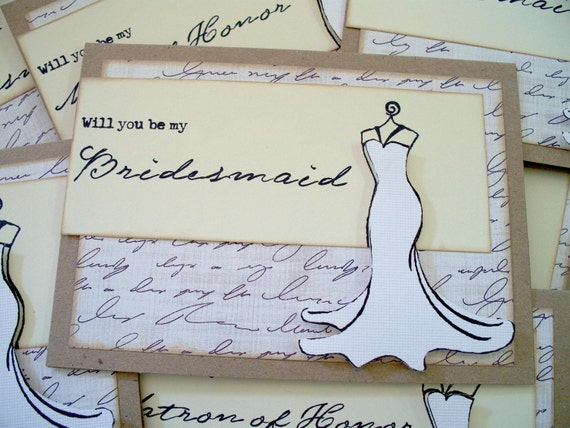 WILL You be my BRIDESMAID 10 Wedding Party Cards Vintage Rustic Style -- You Pick the Color Customize