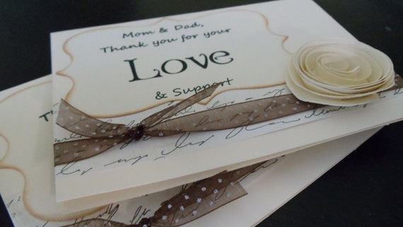 Thank You Parent Script Cards. 2 For Family, Friends or Wedding Party Cards.  Paper Flower