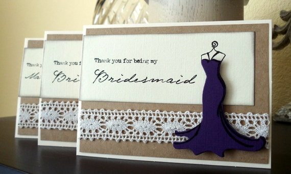 5 THANK YOU for being my Bridesmaid Cards -- Lace Vintage Style Wedding Party