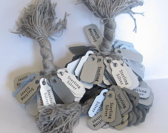 100 Silver gray price tags printed sterling silver