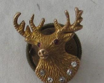 SALE Vintage High End Elk Lapel Pin in 10k gold