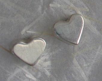 7mm   Sterling Silver Small Heart Post Earrings