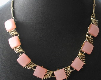 SALE Vintage Coro Pink Lucite and Gold Necklace