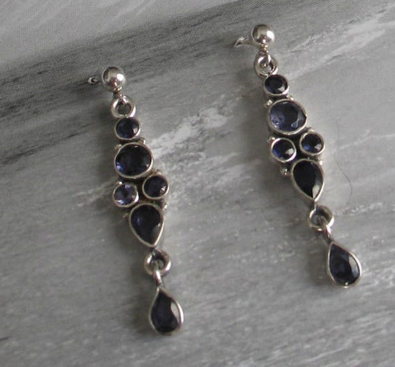 Vintage Sterling Silver and Iolite Dangles