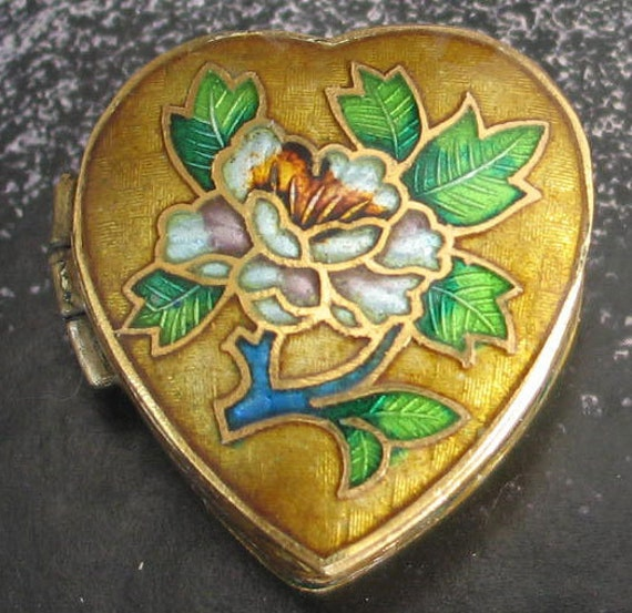 Reserved Vintage Floral Enamel Heart Shaped Box plus3