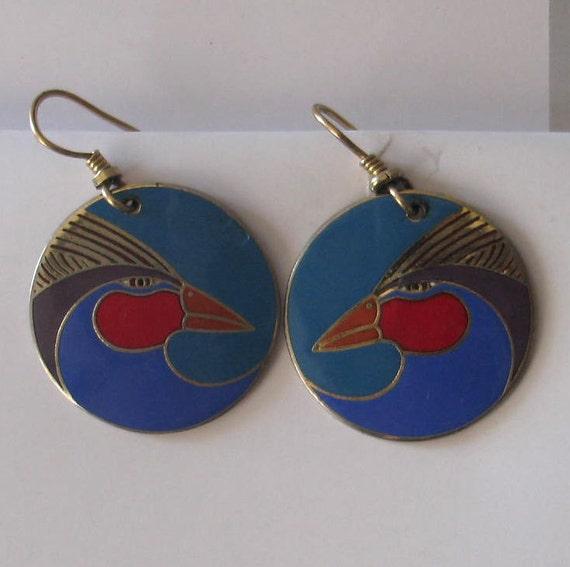 Vintage Laurel Burch Harlequin Bird Earrings