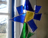 Stained Glass Abstract Wildflower Suncatcher Blue Green Yellow