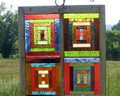 Stained Glass Window ( LOG CABIN QUILT ) Pattern Design Panel
