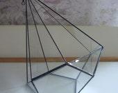 Geometric Pentagon HANGING Glass TERRARIUM TRIANGLE Planter Bowl Dish