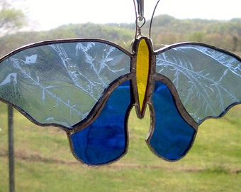 Butterfly Stained Glass Blue Yellow Design