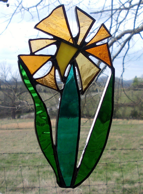 Stained Glass Daisy Abstract FLOWER BLOSSOM Gold Orange Yellow Green Suncatcher