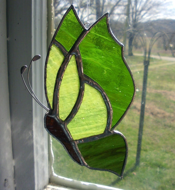 Butterfly Stained Glass Green Pattern Design Suncatcher