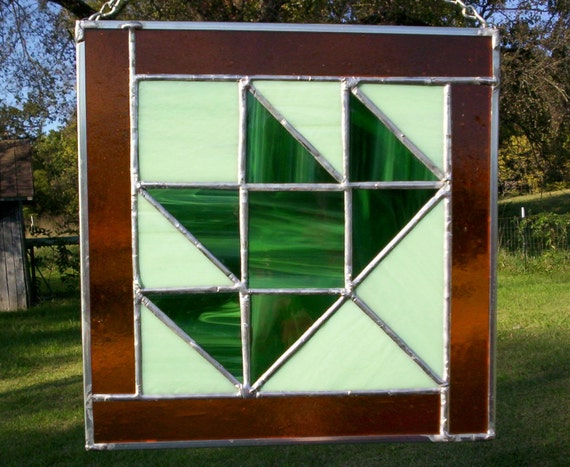 MAPLE LEAF Quilt Square Stained Glass Pattern Design Greens Orange Gold