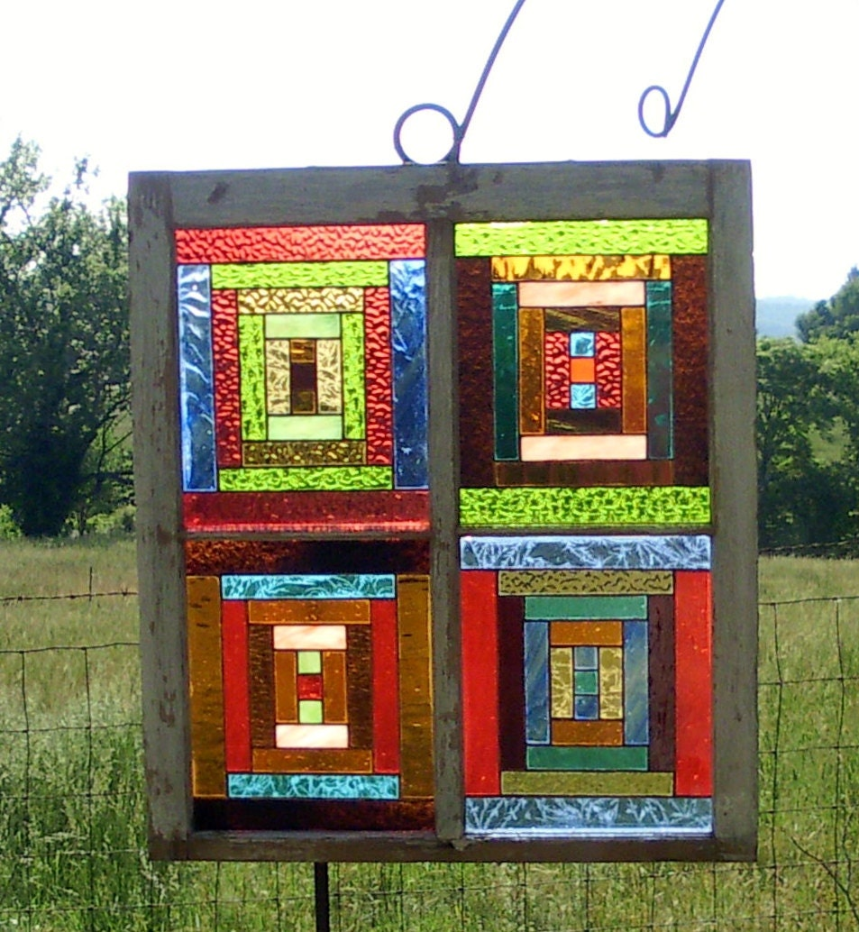 Stained glass window log cabin quilt pattern design panel for Window pane quilt design