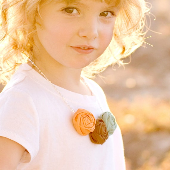 Mini Fabric Rosette Necklace for Girls - 20 Colors to Choose From